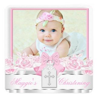 Elegant White Cross Pink Photo Christening Card