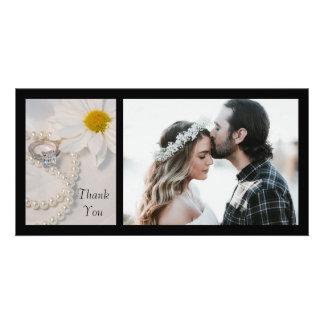 Elegant White Daisy Wedding Thank You Photo Card