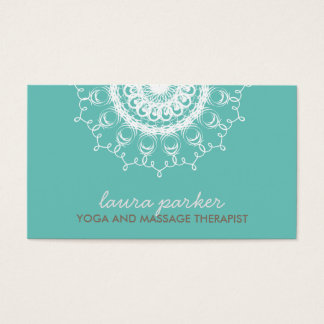 Elegant White Damask Swirl Yoga Healing Health Business Card