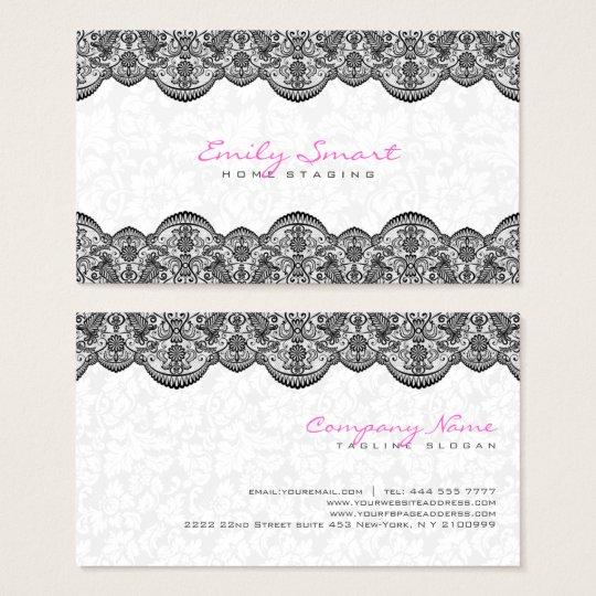 Elegant White Damasks Black Lace Business Card