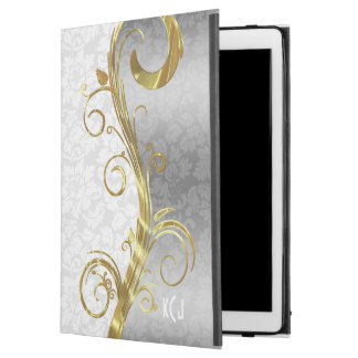 Elegant White Damasks Gold And Silver Swirls