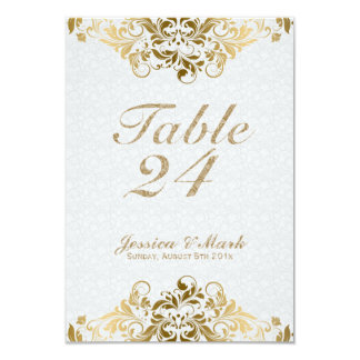 Elegant White Damasks & Gold Floral Lace Card