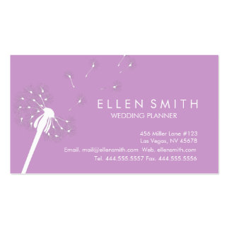 Elegant White Dandelion on Bright Ube Purple Business Card Templates