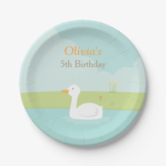 Elegant White Duck Birthday Party Paper Plates
