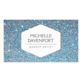 ELEGANT WHITE EMBLEM ON BLUE GLITTER BACKGROUND PACK OF STANDARD BUSINESS CARDS