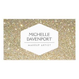 ELEGANT WHITE EMBLEM ON GOLD GLITTER BACKGROUND PACK OF STANDARD BUSINESS CARDS