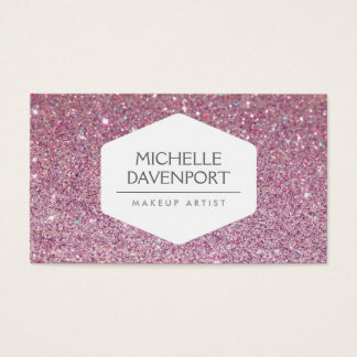 ELEGANT WHITE EMBLEM ON PINK GLITTER BACKGROUND BUSINESS CARD