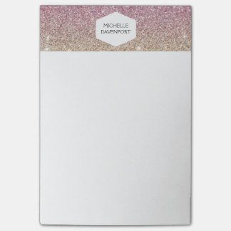 ELEGANT WHITE EMBLEM ON PINK OMBRE GLITTER POST-IT NOTES