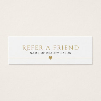 Elegant White Faux Gold Beauty Salon Referral Card