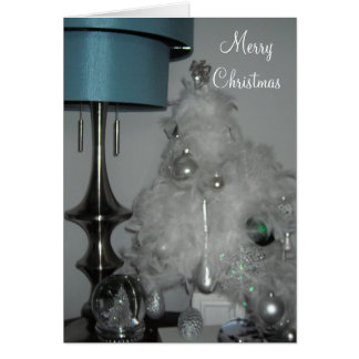 Elegant White Feather Christmas Tree Card