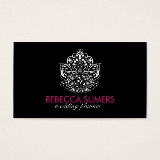 Elegant White Floral Lace Ornament Business Card