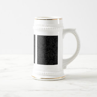 Elegant white floral pattern on a black background beer steins