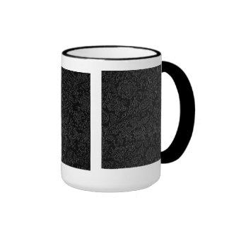 Elegant white floral pattern on a black background coffee mugs