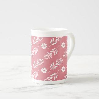 Elegant White Floral Pattern On Strawberry Pink Bone China Mug