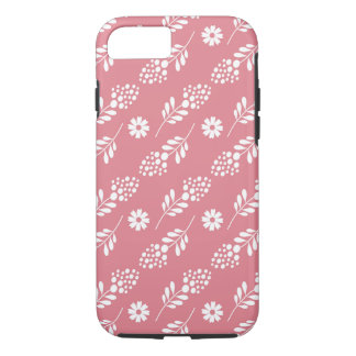 Elegant White Floral Pattern On Strawberry Pink iPhone 7 Case