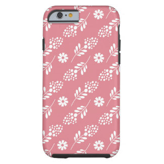 Elegant White Floral Pattern On Strawberry Pink Tough iPhone 6 Case