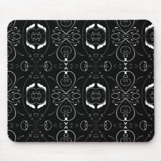 Elegant White Flourishes & Embellishments on Black Mouse Pad