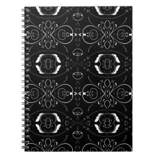 Elegant White Flourishes & Embellishments on Black Spiral Notebook
