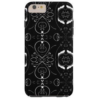 Elegant White Flourishes & Embellishments on Black Tough iPhone 6 Plus Case