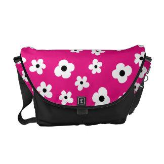 Elegant White Flower Pattern Hot Pink Background Courier Bag