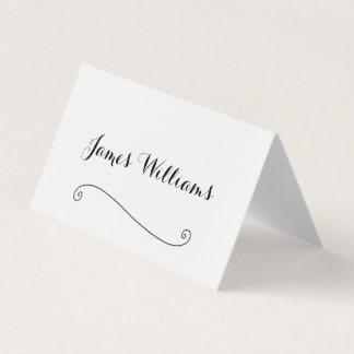 Elegant White Folded Place Setting Cards