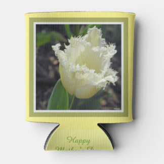 Elegant White Frayed Tulip with Border Design Can Cooler