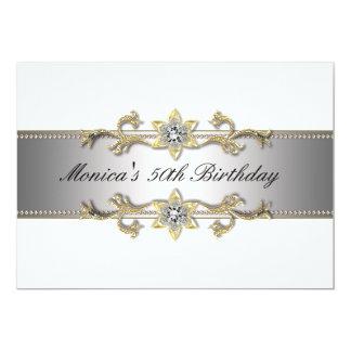 Elegant White Gold 50th Birthday Invitation Fifty