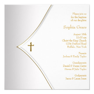 Elegant White Gold Cross Christening Card