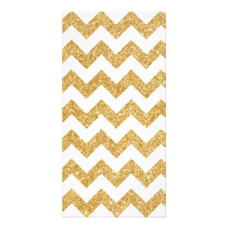 Elegant White Gold Glitter Zigzag Chevron Pattern Custom Photo Card