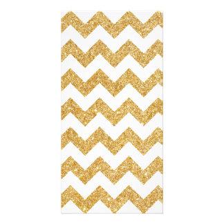 Elegant White Gold Glitter Zigzag Chevron Pattern Custom Photo Card