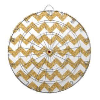 Elegant White Gold Glitter Zigzag Chevron Pattern Dartboards