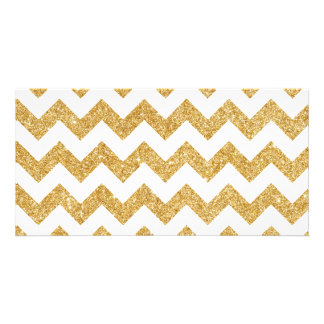 Elegant White Gold Glitter Zigzag Chevron Pattern Personalised Photo Card