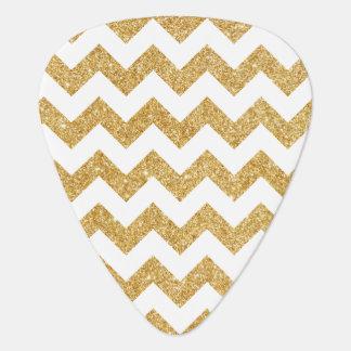 Elegant White Gold Glitter Zigzag Chevron Pattern Plectrum