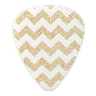 Elegant White Gold Glitter Zigzag Chevron Pattern Polycarbonate Guitar Pick
