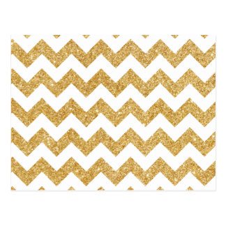 Elegant White Gold Glitter Zigzag Chevron Pattern Postcard