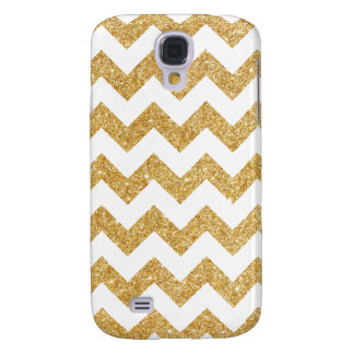 Elegant White Gold Glitter Zigzag Chevron Pattern Samsung Galaxy S4 Covers