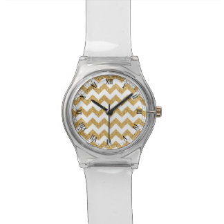 Elegant White Gold Glitter Zigzag Chevron Pattern Watch