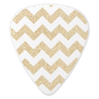 Elegant White Gold Glitter Zigzag Chevron Pattern White Delrin Guitar Pick