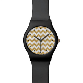 Elegant White Gold Glitter Zigzag Chevron Pattern Wrist Watch