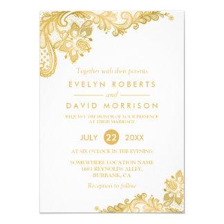 Elegant White Gold Lace Pattern Formal Wedding 13 Cm X 18 Cm Invitation Card