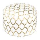Elegant White & Gold Quatrefoil Pattern Pouf