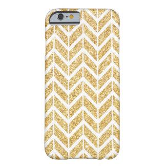 Elegant White Gold Sparkle Zigzag Chevron Pattern Barely There iPhone 6 Case