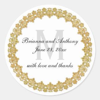 Elegant White & Gold Wedding Sticker with Monogram