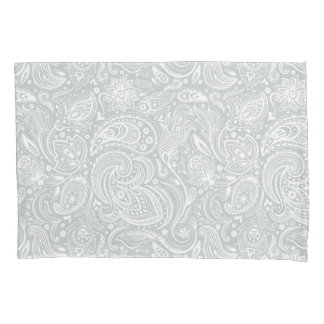 Elegant White & Gray Floral Paisley Pattern Pillowcase