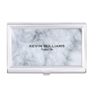 Elegant White & Gray Marble Texture Business Card Holders