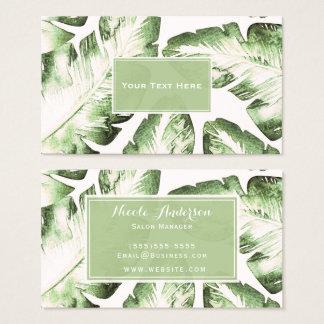 Elegant White Green Tropical Beach Leaves Chic Business Card
