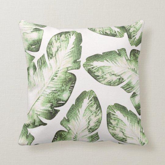 Elegant White Green Tropical Leaves Chic Island Cushion