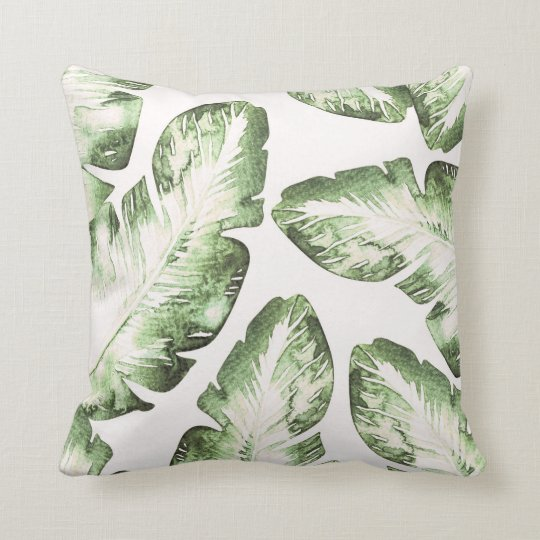 Elegant White Green Tropical Leaves Chic Island Throw Pillow
