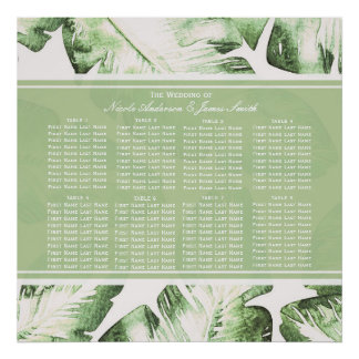 Elegant White Green Tropical Leaves Seating Chart