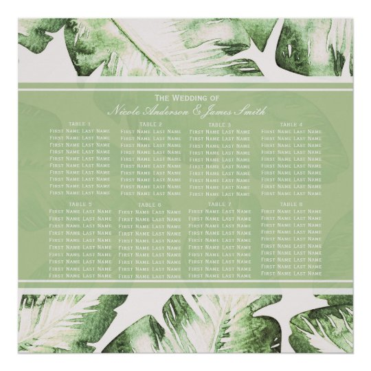 Elegant White Green Tropical Leaves Seating Chart